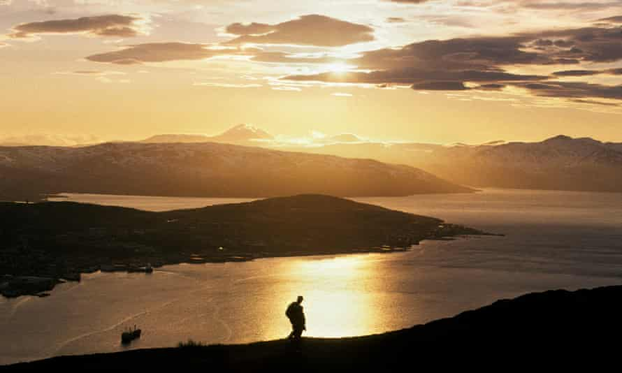 Midnight sun at Tromsø, Norway.
