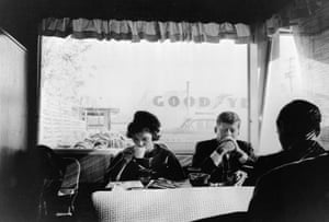Jacqueline and then Senator John F Kennedy have breakfast at an Oregon diner on a Sunday morning during the presidential campaign in the fall of 1959