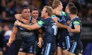 Tyson Frizell of the NSW Blues celebrates scoring a try against the QLD Maroons in Game 2 of the 2019 State of Origin series at Optus Stadium in Perth.