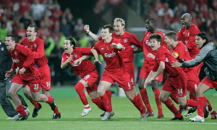 Liverpool players react to winning the 2005 Champions League final on penalties.