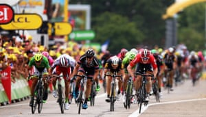 <strong>Stage Fifteen</strong><br>Stage Location: Mende to Valence<br>Stage Winner: André Greipel<br>Greipel crosses the finish line ahead of John Degenkolb, Alexander Kristoff and Peter Sagan