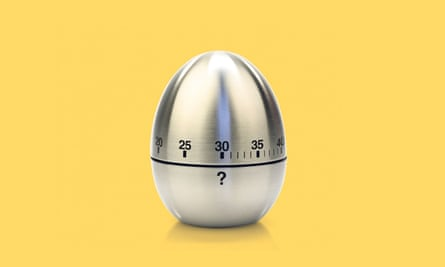 A kitchen egg timer with a question mark on it