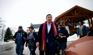 Andrew Yang departs from a rally at Eagle Point Park Lodge on 23 January in Clinton, Iowa.