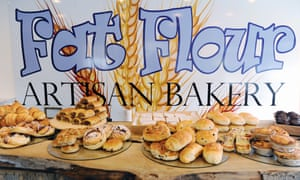 Fat Flour Bakery logo and cakes.