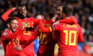 Eden Hazard (right) is congratulated after scoring the opening goal for Belgium against Cyprus.