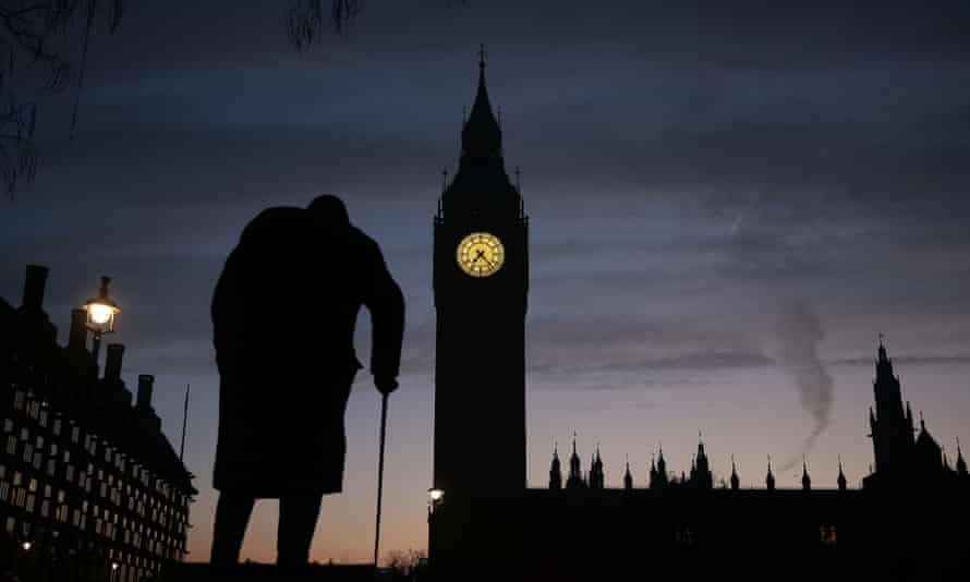 Darkest hours … the statue of Winston Churchill and Houses of Parliament in Westminster.