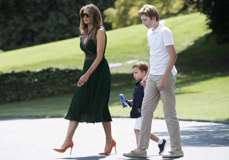 Melania Trump wears a knitted Missoni dress as for a weekend trip to Camp David.
