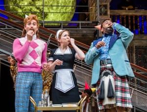 Marc Antolin (Sir Andrew Aguecheek), Carly Bawden (Maria) and Tony Jayawardena (Sir Toby Belch) in the Globe's Twelfth Night.