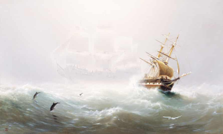 A painting of the Flying Dutchman, circa 1870. The first detailed description of an encounter with this deadly phantom was published in 1821.