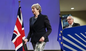 Theresa May and Jean-Claude Juncker in Brussels for for Brexit talks on Ireland, yesterday