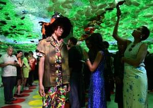 A model walks in the SS20 Marni menswear show