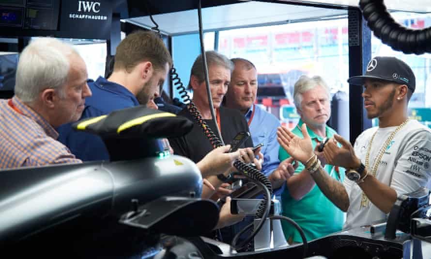 Lewis Hamilton explains the intricacies of his new Mercedes F1 car to journalists