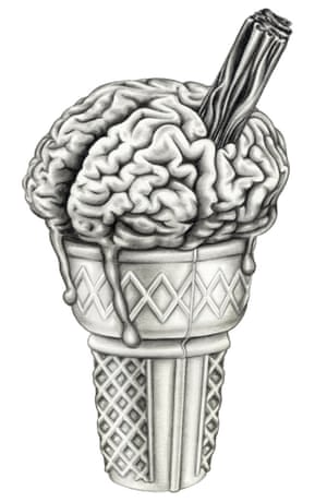 ice cream cone that looks like a brain