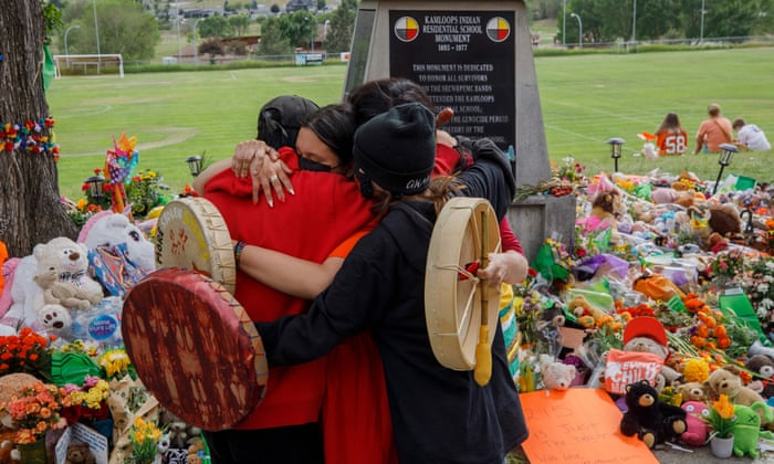 A memorial to the children who died at the Kamloops residential school in British Columbia.