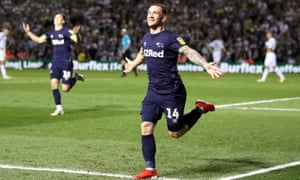 Derby County's Jack Marriott celebrates scoring his side's fourth goal of the game.