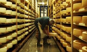 Wheels of cheese ripening at La Maison de L'Etivaz, Switzerland.