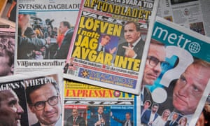 A selection of front pages of Swedish newspapers in Stockholm a day after the general elections