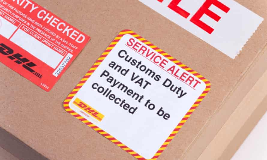 Customs duty and VAT payment to be collected label on parcel