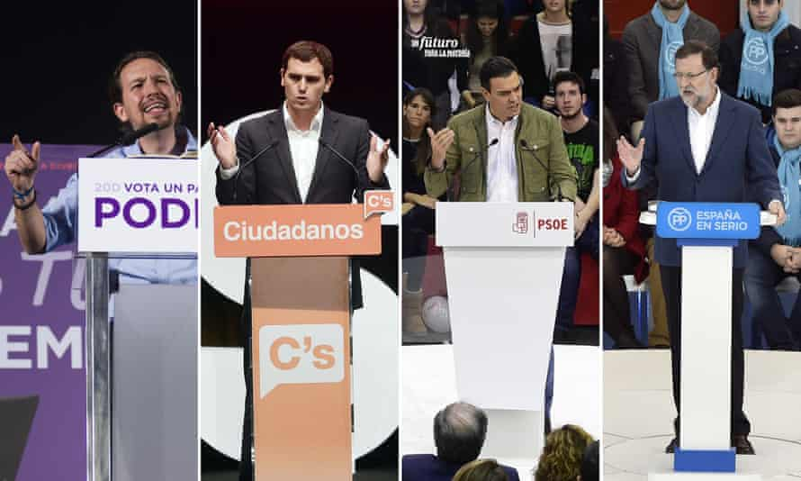 (L to R) Podemos leader Pablo Iglesias, centre-right party Ciudadanos leader, Albert Rivera, Spanish Socialist party leader, Pedro Sanchez and Spanish PM and Popular party leader, Mariano Rajoy.
