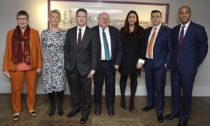 Seven MPs from left, Ann Coffey, Angela Smith, Chris Leslie, Mike Gapes, Luciana Berger, Gavin Shuker and Chuka Umunna