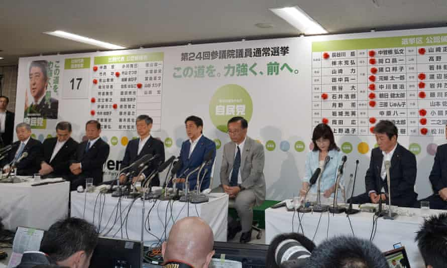 Shinzo Abe (fifth from left)