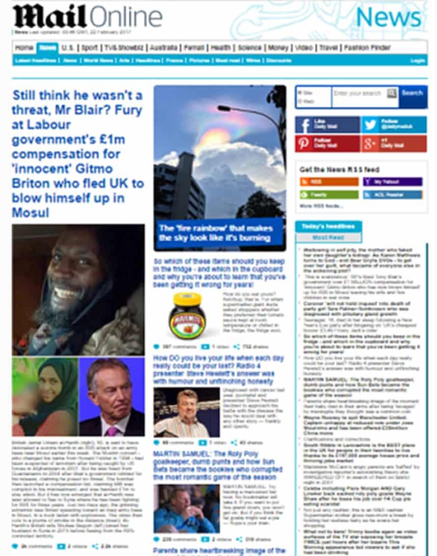 Daily Mail headline as highlighted by Tony Blair