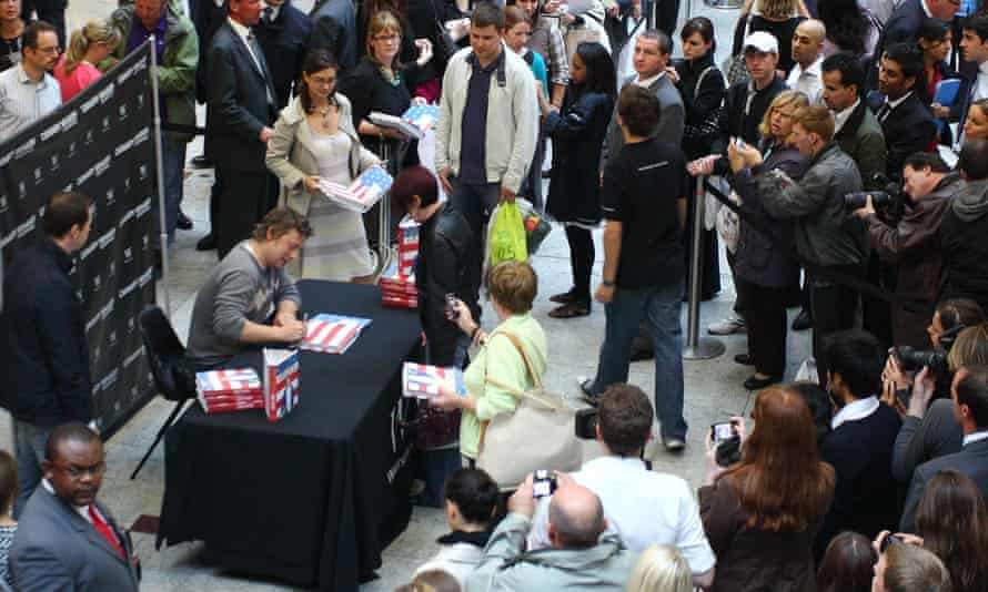Jamie Oliver, who has been the No 1 Christmas book five times, signs books at Waterstones in 2009.