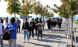 A queue for coronavirus tests in Thessaloniki, Greece, which is facing new restrictions.