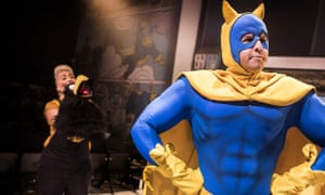 Half-hearted panto charm … Matthew McKenna as Bananaman, with Jodie Jacobs and Crow, in Leon Parris's new musical at Southwark Playhouse.