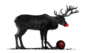 Illustration by David Foldvari of a reindeer wearing an HMRC ball and chain.