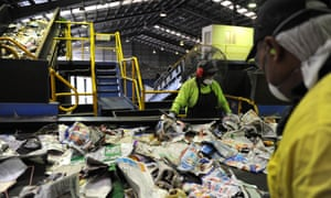 Workers at a Brisbane recycling plant