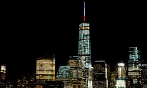 French national colours seen on top of the tower of One World Trade Center in New York