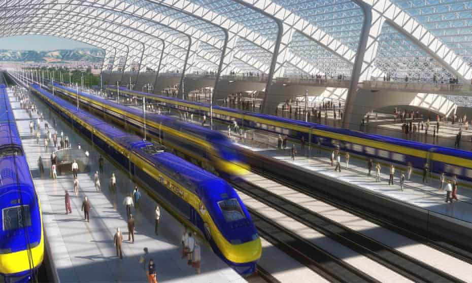 An artist's rendition of the California high-speed rail. The project remains stalled.