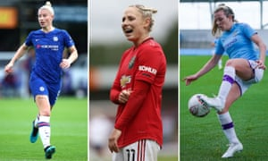 Chelsea's Bethany England; Manchester United's Leah Galton; Manchester City's Lauren Hemp.
