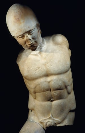 The marble statue of a stumbling soldier was put together from a head, torso and thigh, each  discovered at a different time.