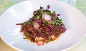 Shredded beef and slices of radish on a round white plate