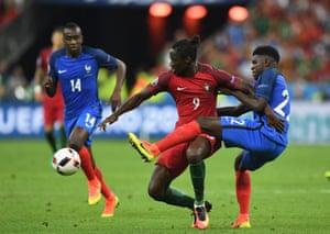 Umtiti tackles Eder, giving away a free kick.