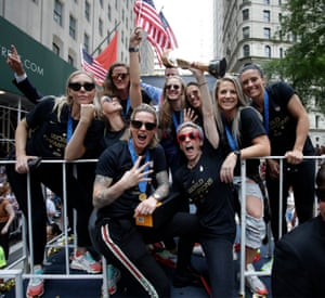 """At the end of the celebrations Megan Rapinoe said """"This group is so resilient, is so tough, has such a sense of humour. There's nothing that can faze this group. We got pink hair and purple hair. We got tattoos and dreadlocks. We got white girls and black girls and everything in between. We got straight girls and gay girls. This is my charge to everyone: We have to be better, we have to love more and hate less. Listen more and talk less. It is our responsibility to make this world a better place."""""""