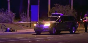 A still image taken from video provided by ABC-15 at the scene, where a pedestrian with a bicycle was hit.