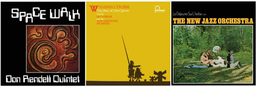 Artwork for albums by Don Rendell Quintet, Ken Wheeler, and the New Jazz Orchestra.