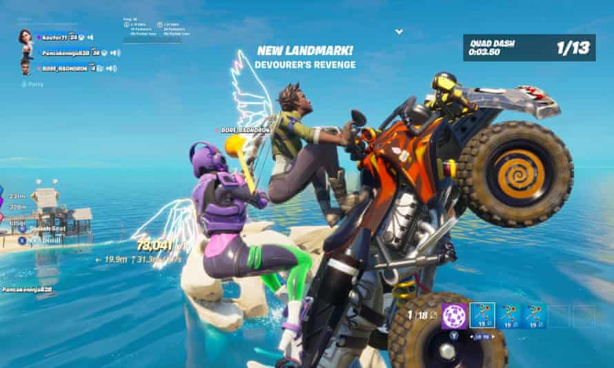 Epically failing at a quad bike challenge in Fortnite Party Royale