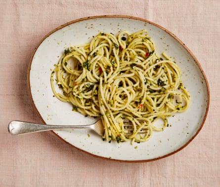 Meera Sodha's pistachio, chilli and lemon spaghetti.