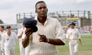 Devon Malcolm acknowledges the acclaim of the Oval crowd in 1994 after his spell of nine for 57 ripped through South Africa.