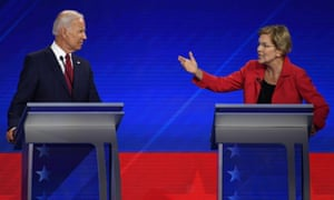 Elizabeth Warren makes a point to Joe Biden during the debate at Texas Southern University in Houston.
