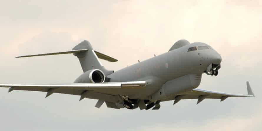 A Sentinel airborne stand off radar (Astor) aircraft from No 5 Squadron, RAF Waddington.