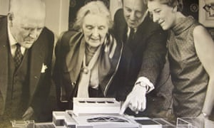 Hazel Vincent Wallace, right, was the driving force behind the opening of a new theatre in Leatherhead in 1969. The architect, Roderick Ham, points out features of the building to Dame Sybil Thorndike and her husband, Sir Lewis Casson