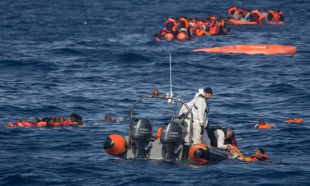Rescued people in sea