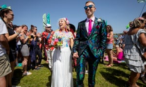Jack Watney and Sarah Adey share the love at Glastonsbury.