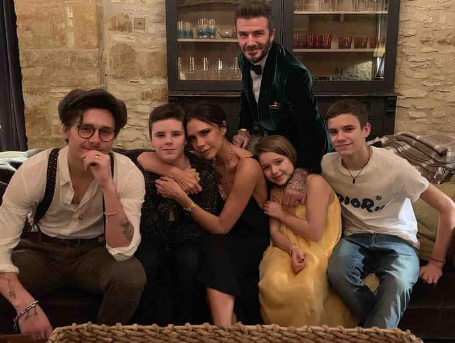 From left: Brooklyn Beckham, Cruz Beckham, Victoria Beckham, David Beckham, Harper Beckham and Romeo Beckham. New Year's Eve/Day 2019