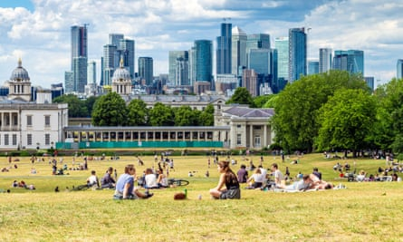 A view of London's financial district from Greenwich park last month